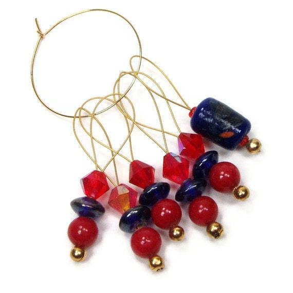 Beaded Stitch Marker Set, Knitting Markers, Snag Free, DIY Crafts, Gift, Red, Navy Blue, TJBdesigns