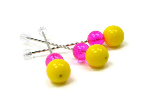 Counting Pins Marking Pins Hot Pink Yellow Cross Stitch Needlepoint Hardanger