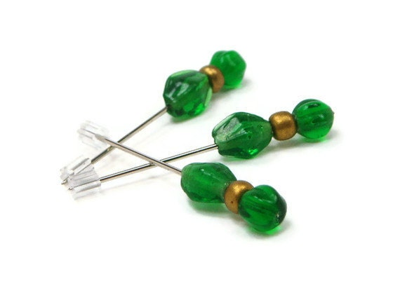 Counting Pins Marking Pins Emerald Green Cross Stitch and Needlepoint Hardanger
