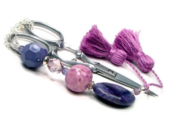 Scissor Fob Violet Deep Rose Sewing Cross Stitch Quilting  Needlepoint Accessory