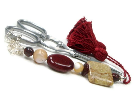 Scissor Fob Beaded Sewing Needlepoint Cross Stitch Quilting Earthy