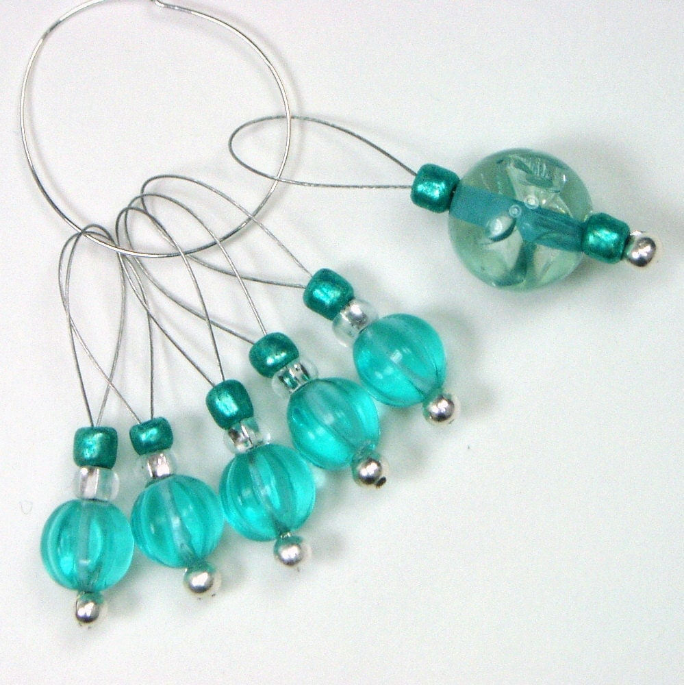 Using Stitch Markers In Lace Knitting : Aqua Beaded Knitting Stitch Markers by TJBdesigns on Etsy