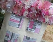 BRICO Shabby Totes - Sturdy Canvas Photo Pocket Tote Bag with Shabby Ribbon Trim - Bride's Tote Pink/Black