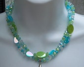 BRICO 3 piece set Shades of the Ocean 2 strand Mother of Pearl and Glass With Crystal Starfish Necklace, Bracelet and Earrings - Free S&H