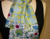 SALE Cotton Voile Scarf - Blue & Green