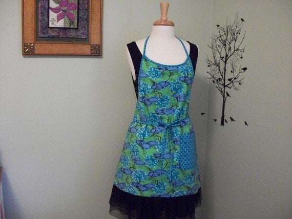 SALE - Full Apron -Shades of Blue and Green - Lined