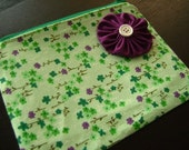 HELP FOR HAITI -- Green Plum Zipped Pouch