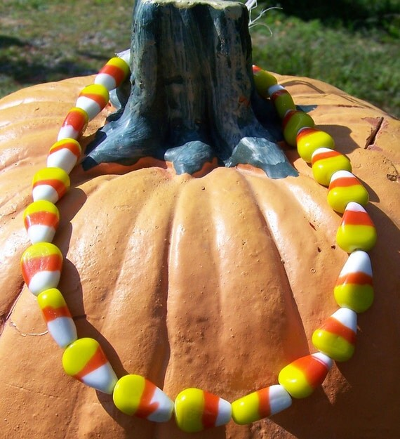 Candy Corn Glass Beads 2 pieces