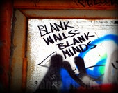 Blank Walls Blank Minds Grafitti Ann Arbor Fine Art Photograph on Metallic Paper