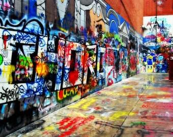 Colorful Grafitti Ann Arbor Fine Art Photograph on Metallic Paper