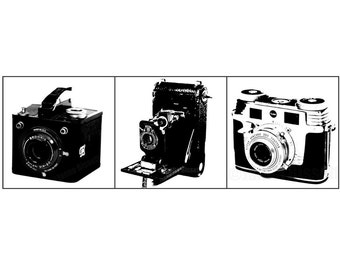 Vintage Cameras Set of 3 Fine Art Prints