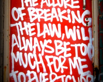 Detroit Photograph, Breaking the Law Graffiti, Fine Art Photography on Metallic Paper