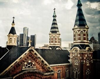 Church in Greektown Detroit- Fine Art Urban Photograph