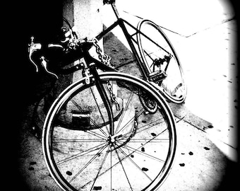 Bicycle Black and White Fine Art Photograph on Metallic Paper