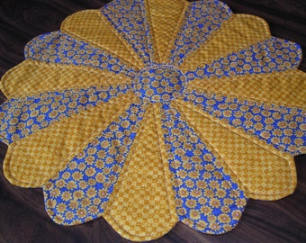 Gold and Blue Floral Dresden Table Topper