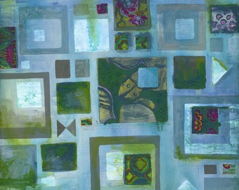 Patchwork Fine Art Giclee Print from original painting 8x10