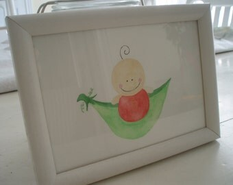 Framed picture/sweet pea in a pod/red
