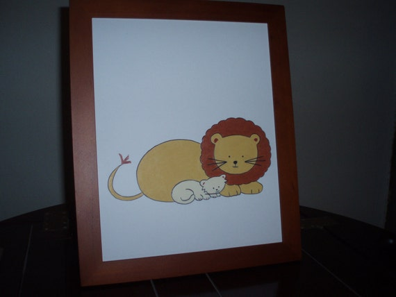 Framed picture/lion and cub