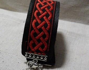 Scarlet Celtic Knot Leather bracelet