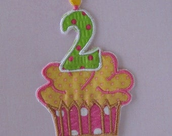 Pink, yellow, green poka dot second birthday cupcake applique