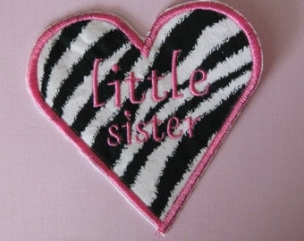 Zebra print little sister heart applique