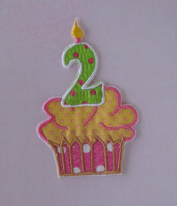 Pink, yellow, green poka dot second birthday cupcake applique