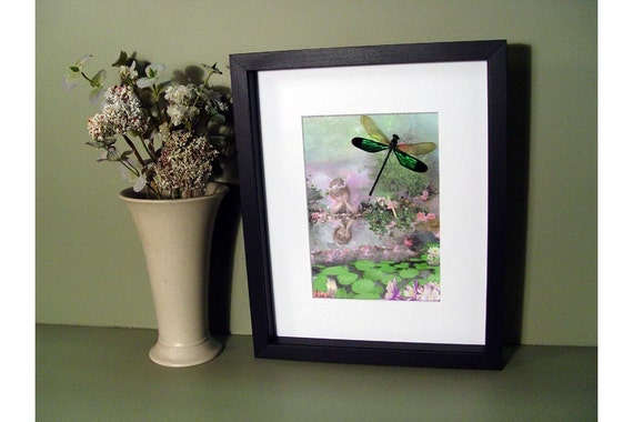 Magical Fairy Faerie Girl with Real dragonfly Framed fp5