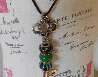 Beaded Skeleton Key Necklace  free shipping