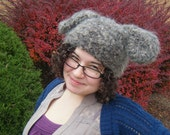 fuzzy crochet animal hat, bunny, bear, dog, panda