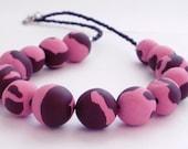 Polymer Clay Pink Swirls Necklace