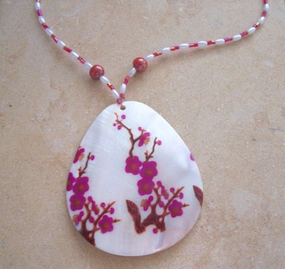 Flowery Seashell Necklace - RESERVED
