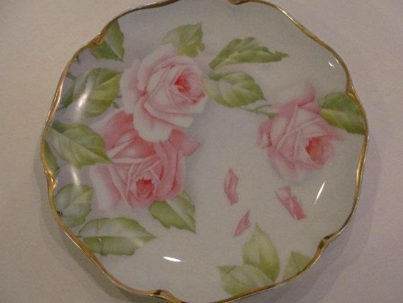 Sweet Pink Roses German Rosenthale Hand Painted Signed Bavaria Porcelain Plate