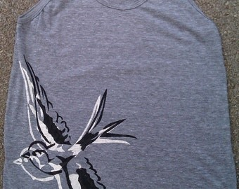 flying Swallow tattoo style designed Tank highlighted in your choice of colors super soft tank