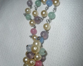 free ship,Necklace/EXCELLENT CONDITION/Gorgeous/Glass/Jadite/faux pearl, Dangle/Vintage Multi Colored,Fantastic Patina,I can make adjustable