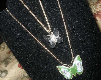 FREE SHIP, 2 butterfly necklaces,1 Enamel with Panies, 1 'AMWAY' crystal Pendant, Layered Look ...