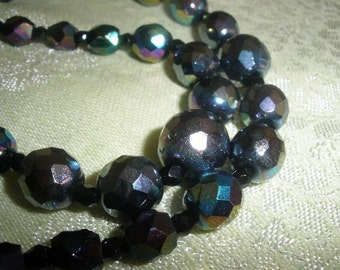 50 % off, Free USA Ship, Rare 'AB Rainbow' blue purple 2 STRAND Faceted 1950s Bohemian Crystal necklace,signed 'jd' on brass push clasp