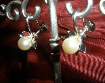 SALE, Signed Sterling Silver  & Marvel, Screwback, REAL Pearl Earrings, signed, 1950's 60s, These are NOT flimsy....