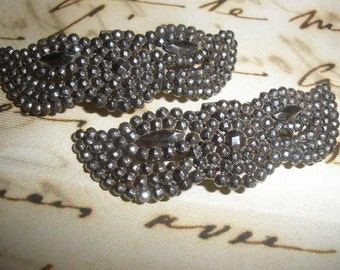 50 % off,2 Antique 2 1/4 inch 'Steel Cut' Shoe Clips, 'Excellent Condition', moustache,  Butterfly, Harlequin Mask, Wings, Layaway Available