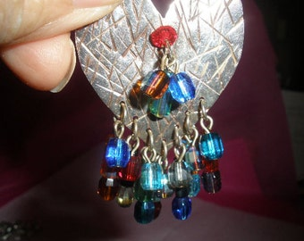 Free Ship, Sale, STERLING Silver, Hand Made Heart Brooch, Heart Pin, Wonderful CRYSTAL BEADS, Multi Color Stones