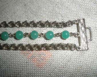 sale, Vintage Jadite Glass Bracelet, wonderful double loop silver chain,3 strands, fold over clasp, green 4-5 mm glass beads