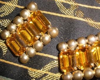 sale, HUGE, GORGEOUS 'Clip' Earrings  Vintage, Crystal Glass Topaz, Emerald Cut,  Wonderful Quality, goldtone brass