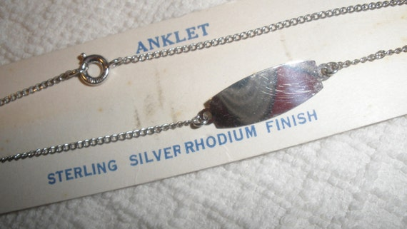 1950s Sterling Silver Anklet, new/old,  9 inches, delicate chain, original card, Space for a name, inspirational  or a sweet something ...