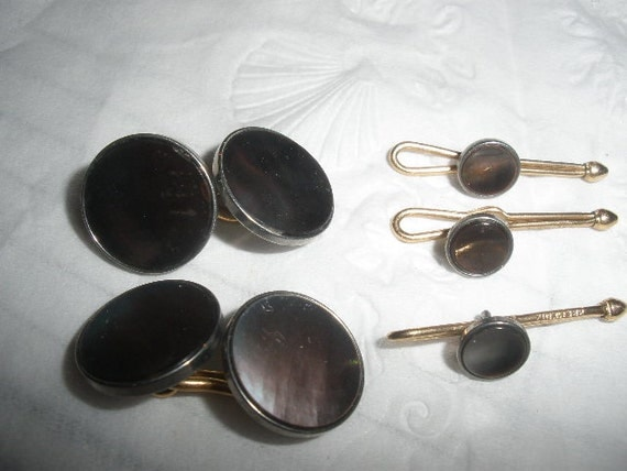 Sale, Krementz, Beautiful Art Deco, Tuxedo, Formal Set, Abalone, Mother of Pearl, SIGNED, excellent condition