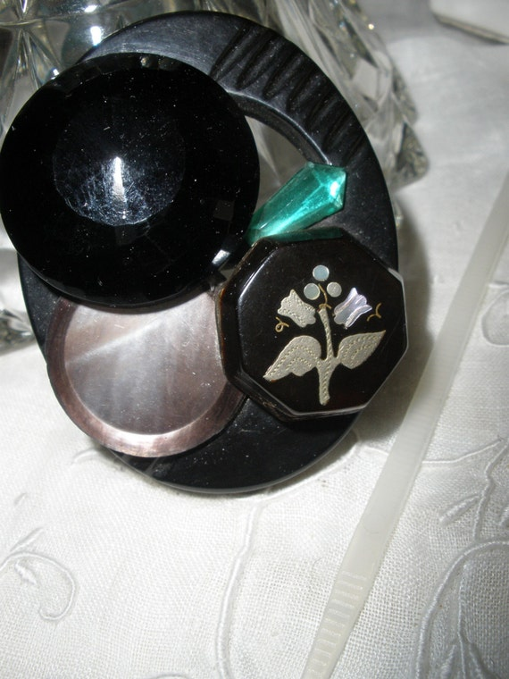 FREE SHIP, Handmade Bakelite Buckle Brooch, Antique, Black Glass, Ablone Flower, Art Deco Green Crystal, 'Sterling Button Co.'One Of A Kind,