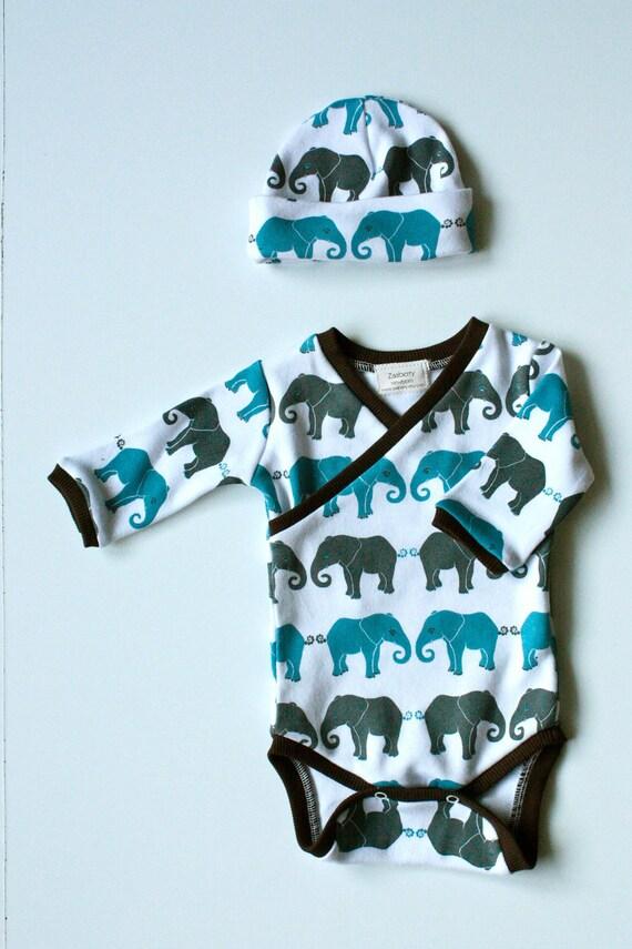 Newborn Elephant Print Kimono Style Onesie And Hat Set