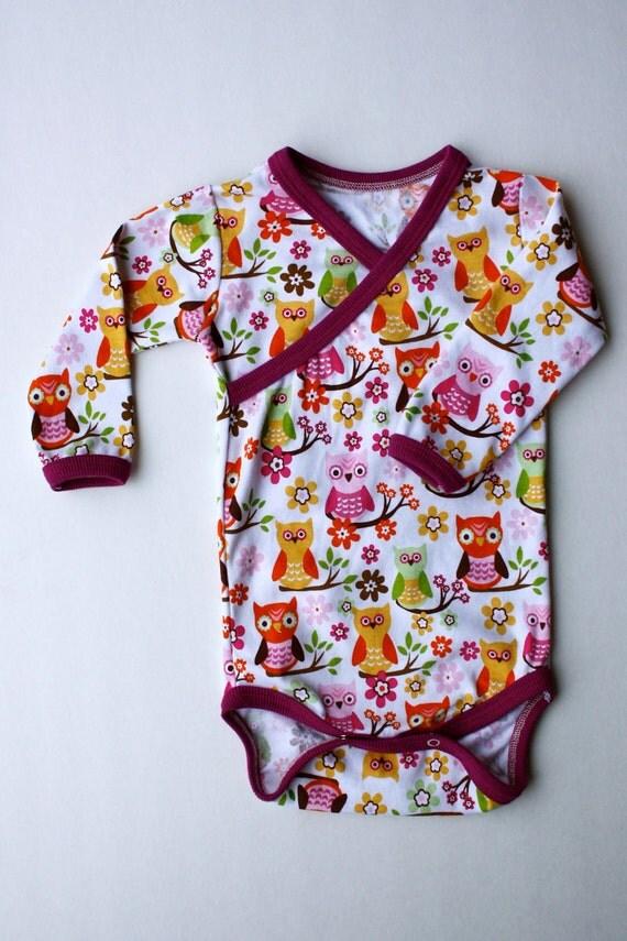 12-18 month Sweet Owl Kimono Style Onesie