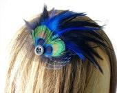 Tara Fascinator Brooch by Love Charlie versatile hair piece-peacock-veiling-repurposed vintage details