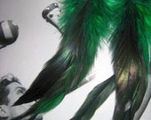 The Juliet hand made feathered earrings by Love Charlie with lusciously lengthy Kelly Green schlappen