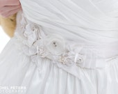 Free Shipping- Paola-Couture Bridal Belt-hand made by Love Charlie- featured in 100 Layer Cake, customizable color, silk, crystals, pearls,