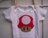 Mario Mushroom Applique Onesie
